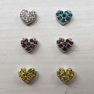 New Set of 6 Origami Owl Swarovski Crystal Hearts